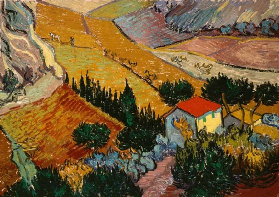 Van Gogh, Vincent: Landscape with House and Ploughman (1889). Fine Art Print/Poster. Sizes: A4/A3/A2/A1 (001492)